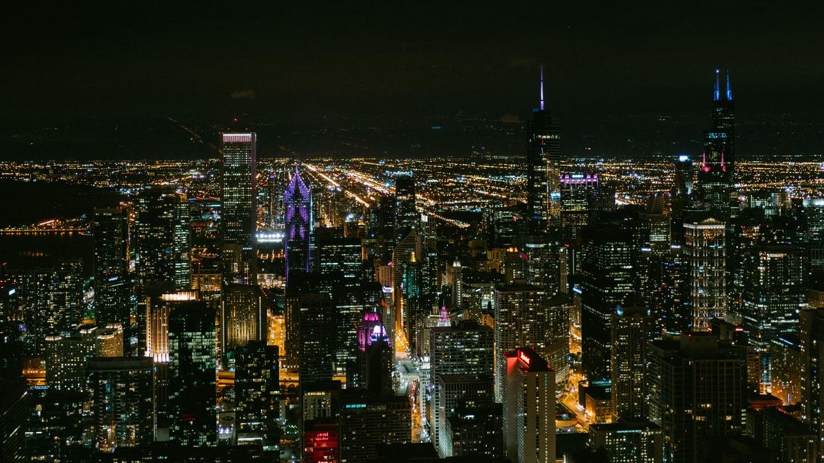 city in dark